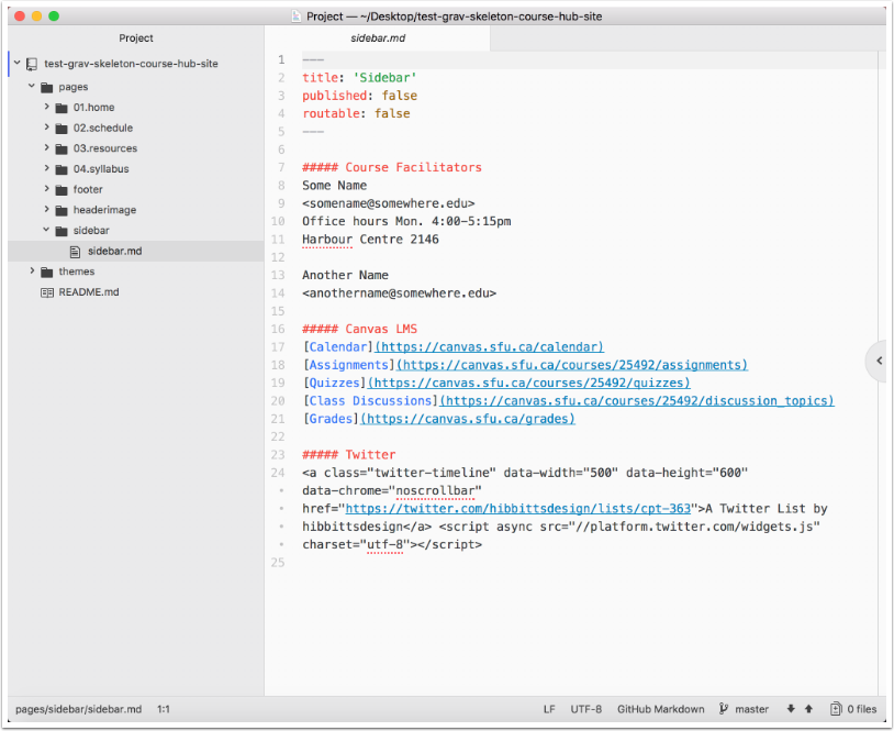 Editing Local Repository Content   Grav CMS in Open